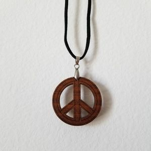 Vintage Natural Wood Peace Necklace
